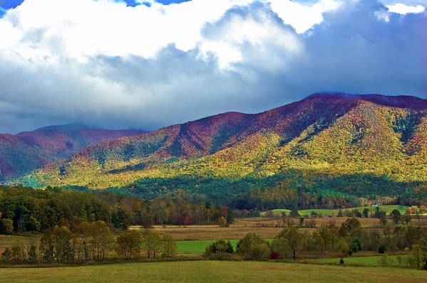 Smokey Mountains Art Print featuring the photograph Cloud Covered Peaks by DigiArt Diaries by Vicky B Fuller
