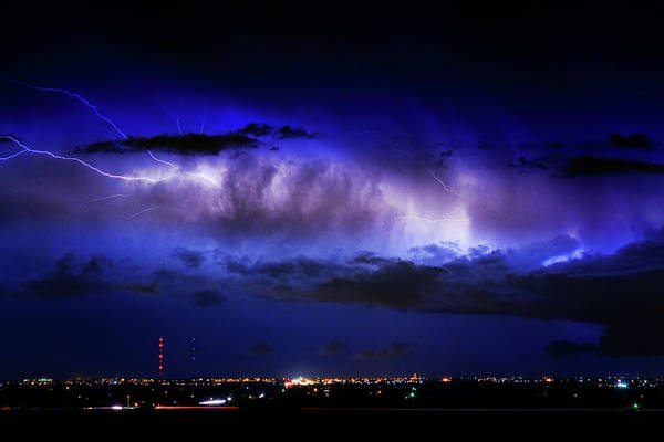 Bouldercounty Print featuring the photograph Cloud To Cloud Lightning Boulder County Colorado by James BO Insogna