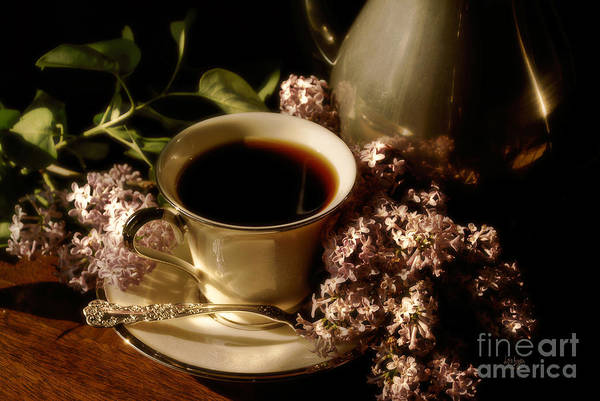 Coffee Art Print featuring the photograph Coffee And Lilacs In The Morning by Lois Bryan