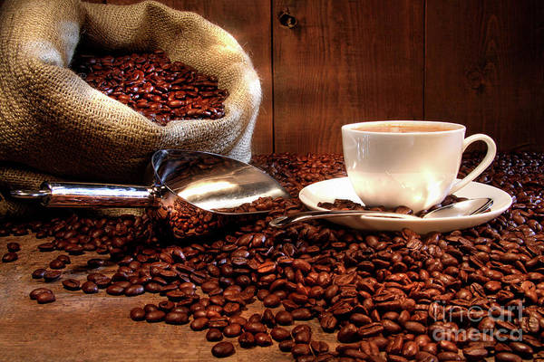 Aroma Art Print featuring the photograph Coffee Cup With Burlap Sack Of Roasted Beans by Sandra Cunningham