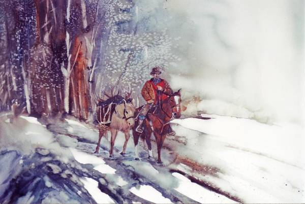 Horse And Rider Art Print featuring the painting Cold Hunt by Lynne Parker