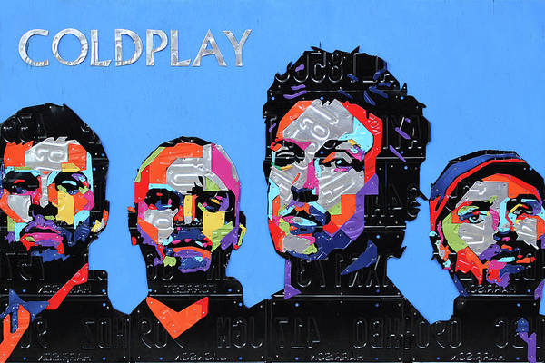 Coldplay Art Print featuring the mixed media Coldplay Band Portrait Recycled License Plates Art On Blue Wood by Design Turnpike