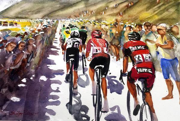 Le Tour De France Art Print featuring the painting Color And Movement At Le Tour De France by Shirley Peters