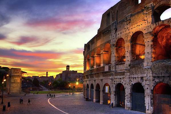 Horizontal Art Print featuring the photograph Colosseum At Sunset by Christopher Chan