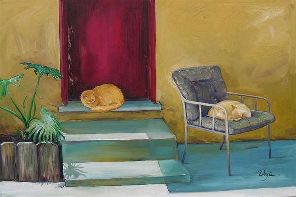 Cat Art Print featuring the painting Companions by Karen Doyle
