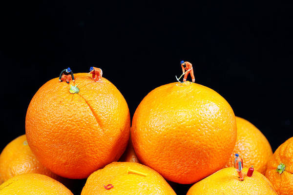 Surreal Art Print featuring the photograph Construction On Oranges by Paul Ge