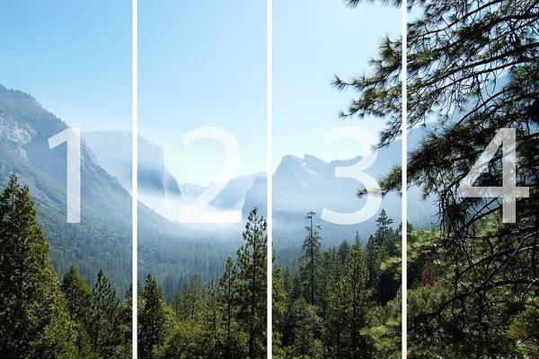 El Capitan Art Print featuring the digital art Controlled Burn Of Yosemite Panoramic Map by Michael Bessler