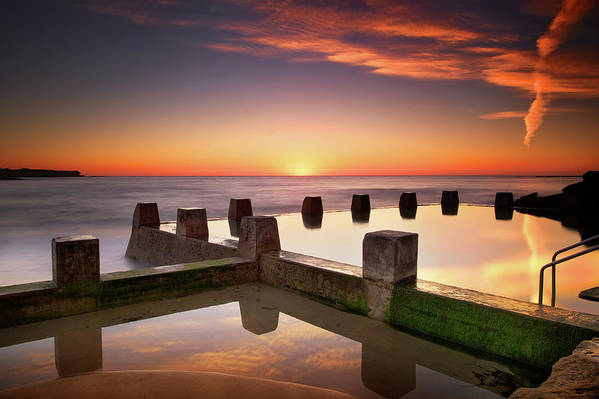 Horizontal Art Print featuring the photograph Coogee Beach At Early Morning,sydney by Noval Nugraha Photography. All rights reserved.