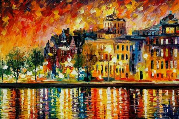 City Art Print featuring the painting Copenhagen Original Oil Painting by Leonid Afremov