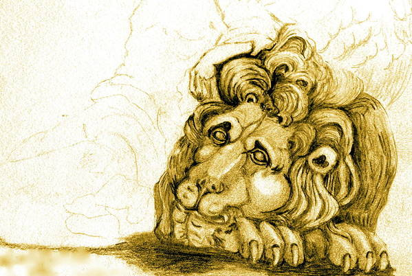 Lion Art Print featuring the drawing Cordoba Lion by Dan Earle