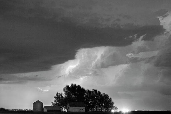 287 Art Print featuring the photograph County Line Northern Colorado Lightning Storm Bw by James BO Insogna