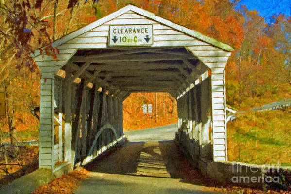 Covered Bridge Revolutionary Civil War Impasto Art Print featuring the photograph Covered Bridge Impasto Oil by David Zanzinger