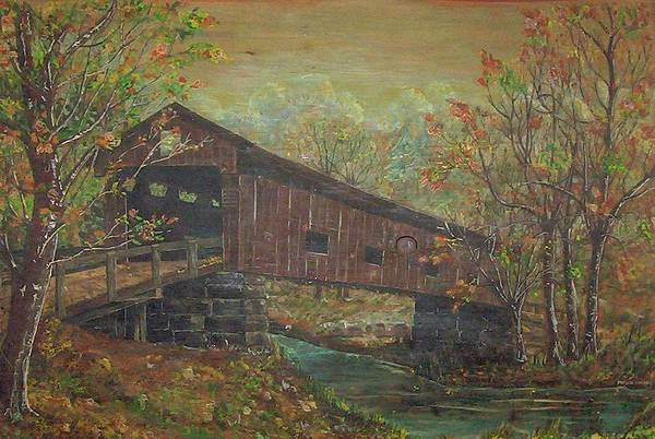 Bridge Art Print featuring the painting Covered Bridge by Phyllis Mae Richardson Fisher