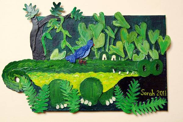 Crocodile Art Print featuring the mixed media Crocodile Amble by Sarah Swift