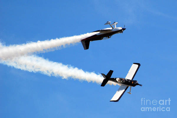 Airplanes Art Print featuring the photograph Crossing Paths by Larry Keahey