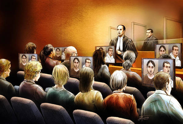 Crown Print featuring the painting Crown Kevin Gowdey Delivers Opening Address At The Rafferty Trial by Alex Tavshunsky