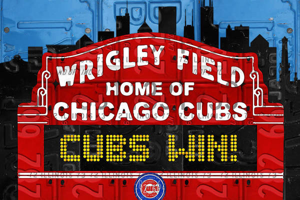 Cubs Win Art Print featuring the mixed media Cubs Win Wrigley Field Chicago Illinois Recycled Vintage License Plate Baseball Team Art by Design Turnpike
