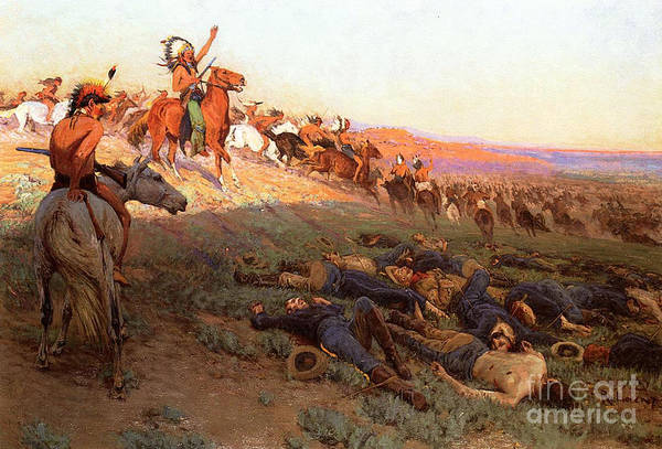 Custer's Last Stand; Battle; Little Bighorn; Greasy Grass; George Armstrong Custer; Crazy Horse; Native American Indian; Indians; Americans; United States; Army; Cavalry; Horses; Great Sioux War; Lakota; Northern Cheyenne; Arapho; Dead; Death; Bodies; Triumph; Victory; Triumphal; Leader; Dusk; Sunset; Dramatic; Heroic; Black Hills War; Combat; Warfare; Battles Art Print featuring the painting Custer's Last Stand by Richard Lorenz