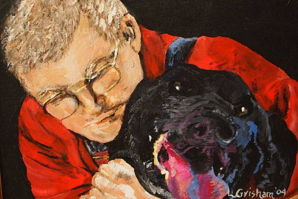 Pets Print featuring the painting Daddy And Borus by Laura Grisham