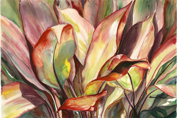 Tropical Foliage Art Print featuring the painting Dancing Ti Leaves by Ileana Carreno