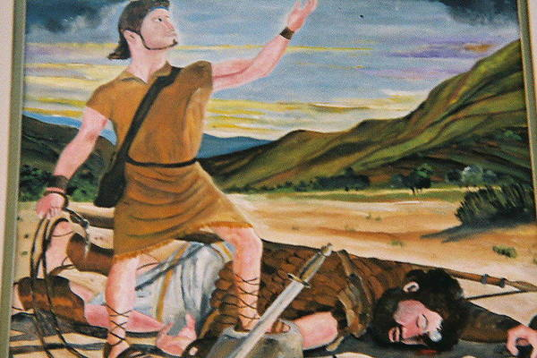 Biblical Art Print featuring the painting David And Goliath by Desenclos Patrick