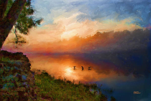 Landscape Art Print featuring the painting Dawn Flight by Shirley Dawson