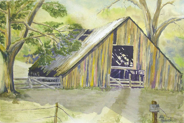 Old Barn Art Print featuring the painting Day Is Done by Ally Benbrook