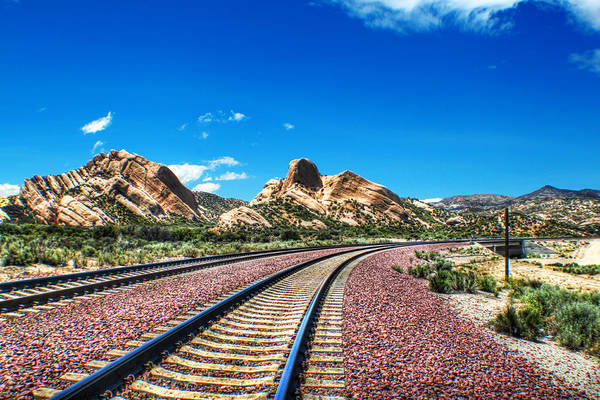 Train Art Print featuring the photograph Desert Tracks by MadMethod Designs