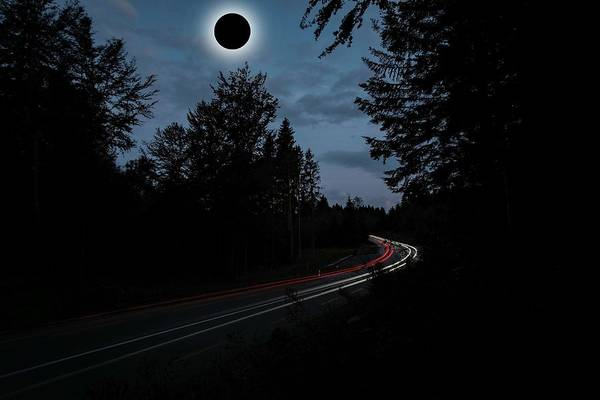 Sun Art Print featuring the painting Diamond Ring Solar Eclips Over Route 66 By Adam Asar 3 by Adam Asar