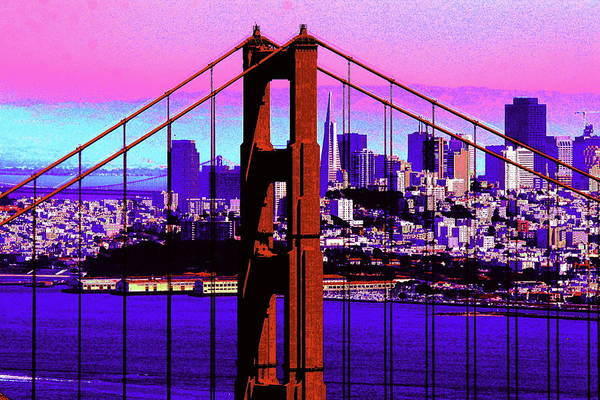 Bay Art Print featuring the photograph Digital Sunset - Ggb by Lou Ford