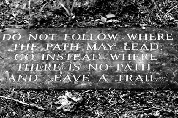 Do Not Follow Where The Path May Lead Art Print featuring the photograph Do Not Follow Where The Path May Lead by Susie Weaver