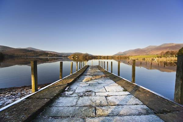 Color Art Print featuring the photograph Dock In A Lake, Cumbria, England by John Short