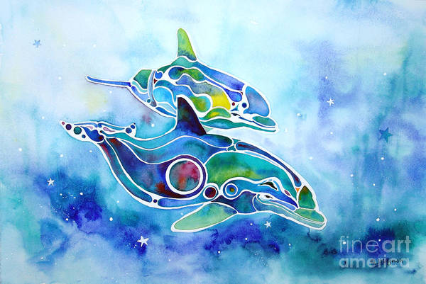 Dolphins Art Print featuring the painting Dolphins Dance by Jo Lynch
