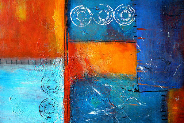 Large Abstract Painting Art Print featuring the painting Domino by Nancy Merkle