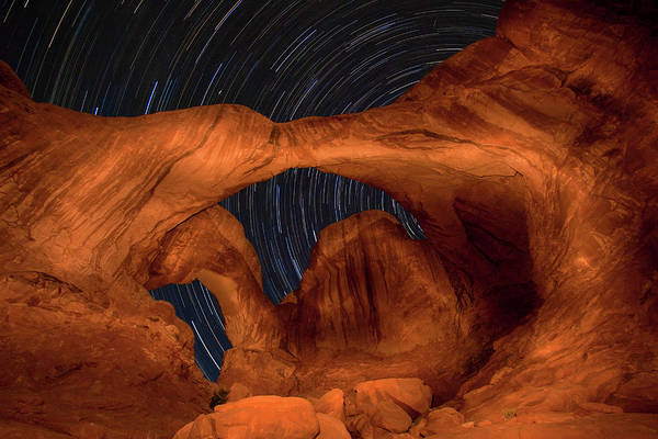 3scape Art Print featuring the photograph Double Arch Star Trails by Adam Romanowicz