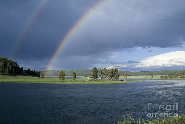 Yellowstone Art Print featuring the photograph Double Rainbow At Alum Creek by Sandra Bronstein