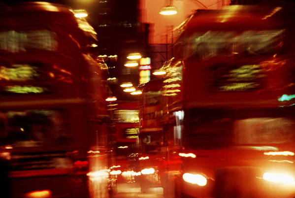 Bus Art Print featuring the photograph Doubledecker Bus Blur London by Brad Rickerby