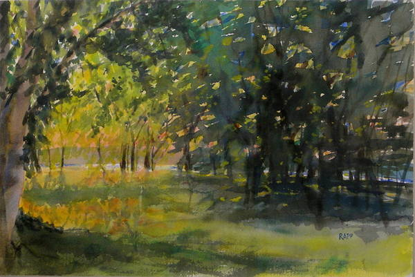 Lake Art Print featuring the painting Down By The Lake by Jan Rapp