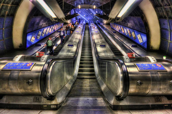 Escalator Art Print featuring the photograph Down From A Cloud. Up From The Underground. by Evelina Kremsdorf