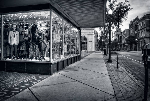 Wilmington Art Print featuring the photograph Downtown Sidewalk In Black And White by Greg Mimbs