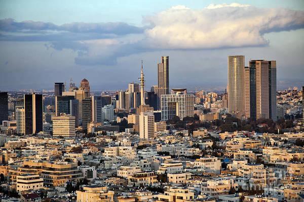 Tel Aviv Art Print featuring the digital art Downtown Tel-aviv Skyline by Eldad Carin