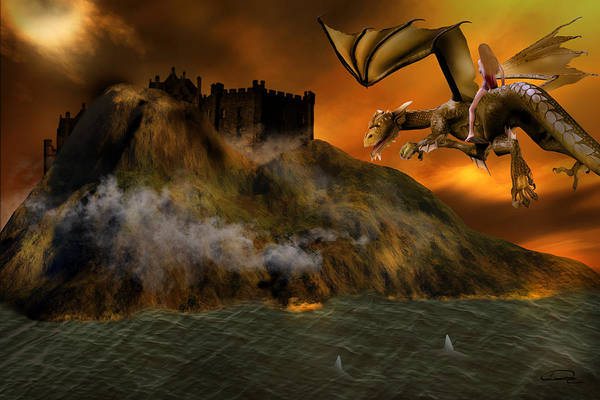 Fantasy Art Print featuring the painting Dragons Return To Lost Island by Emma Alvarez