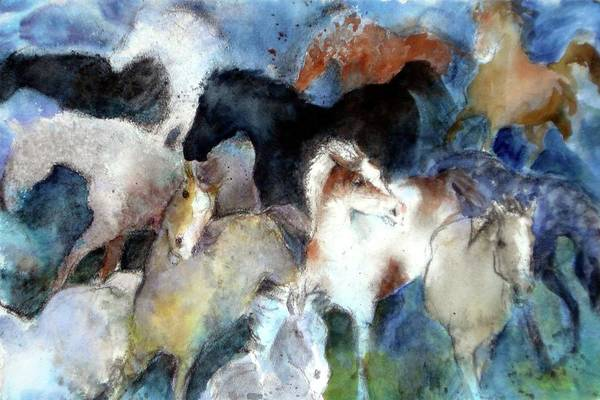 Horses Art Print featuring the painting Dream Of Wild Horses by Christie Martin