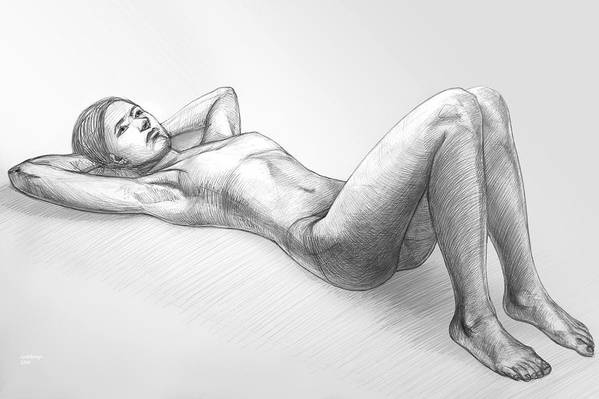 Pencil Art Print featuring the drawing Dreaming by Natoly Art