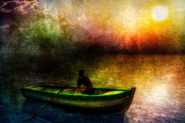 Seascape Art Print featuring the painting Drifting Into The Light by Bob Orsillo