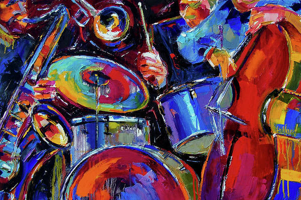 Jazz Print featuring the painting Drums And Friends by Debra Hurd