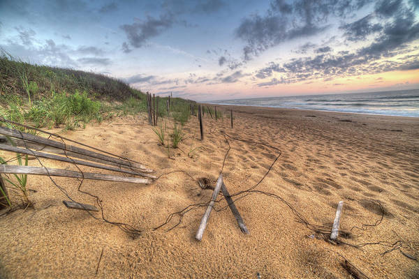 Ocean Art Print featuring the photograph Dune Fencing Down by Robert Huber