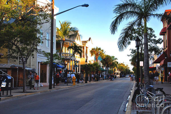 Key West Print featuring the photograph Duval Street In Key West by Susanne Van Hulst