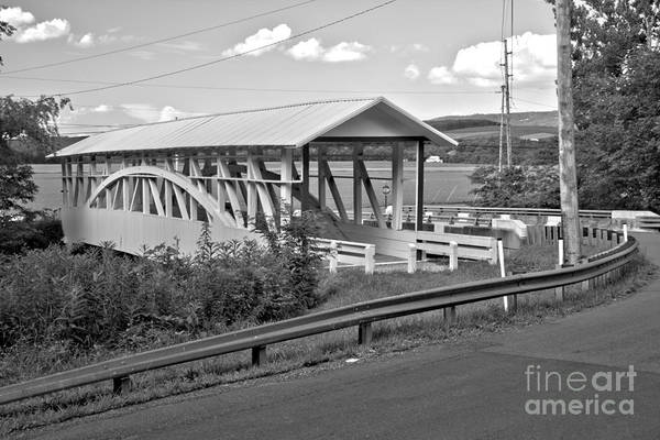 Bowser Coverd Bridge Art Print featuring the photograph East St. Claire Covered Bridge Black And White by Adam Jewell