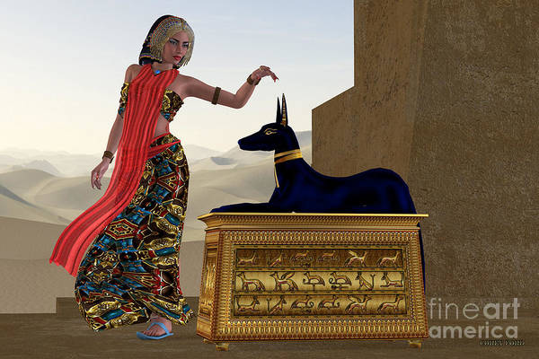 Anubis Art Print featuring the painting Egyptian Woman And Anubis Statue by Corey Ford